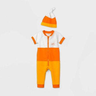 Baby Boys' Candy Corn Short Sleeve Romper Set with Hat - Cat & Jack™ Orange 6-9M