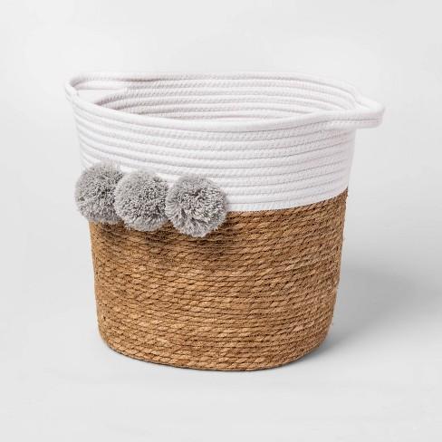 Decorative Basket - Cloud Island™ Large Coiled Rush Pom White - image 1 of 2