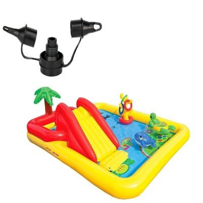 Intex 120V Quick Fill AC Electric AirPump & Intex Inflatable Ocean Play Kid Pool