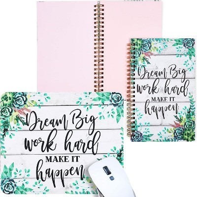 Paper Junkie Pack of 2 Corresponding Journal Bundle with Mouse Pad, 128 GSM Pink Paper Notebook, Dream Big Work Hard Green Succulent Floral Design