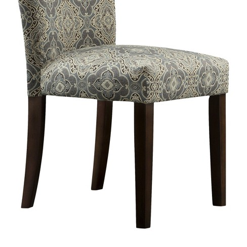 Quinby Parson Damask Dining Chair Wood Blue Set Of 2 Inspire Q