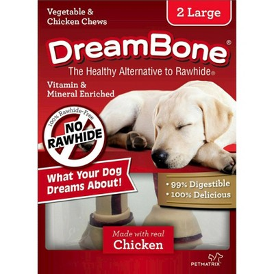 DreamBone Large Vegetable and Chicken Flavored Rawhide Chew Bone 2ct