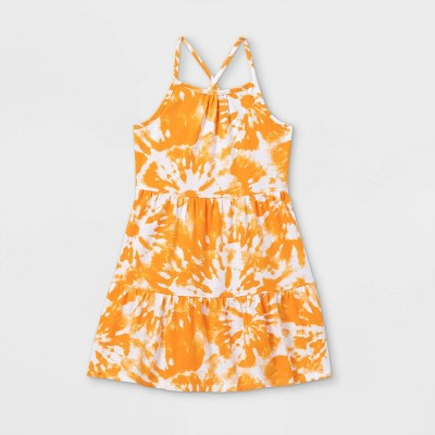 Girls' Printed Tiered Knit Sleeveless Dress - Cat & Jack™ Orange