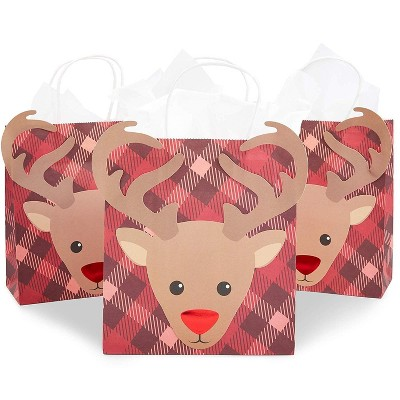 Blue Panda 15 Pack Christmas Reindeer Gift Bags with Handles and Tissue Paper (8.1 x 9 x 4 in)