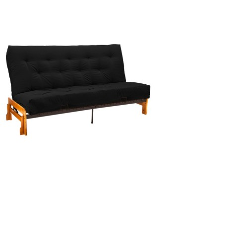 "Low Arm 8"" Inner Spring Futon Sofa Sleeper - Medium Oak Wood Finish - Twill Black Upholstery - Queen - Size - Sit N Sleep - image 1 of 4"