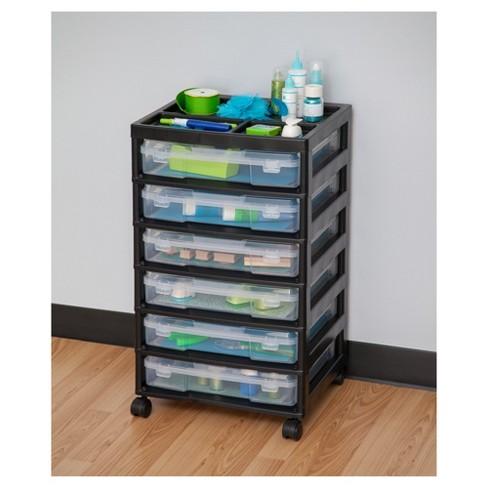 Iris 6 Drawer Scrapbook Storage Cart With Organizer Top Black Target