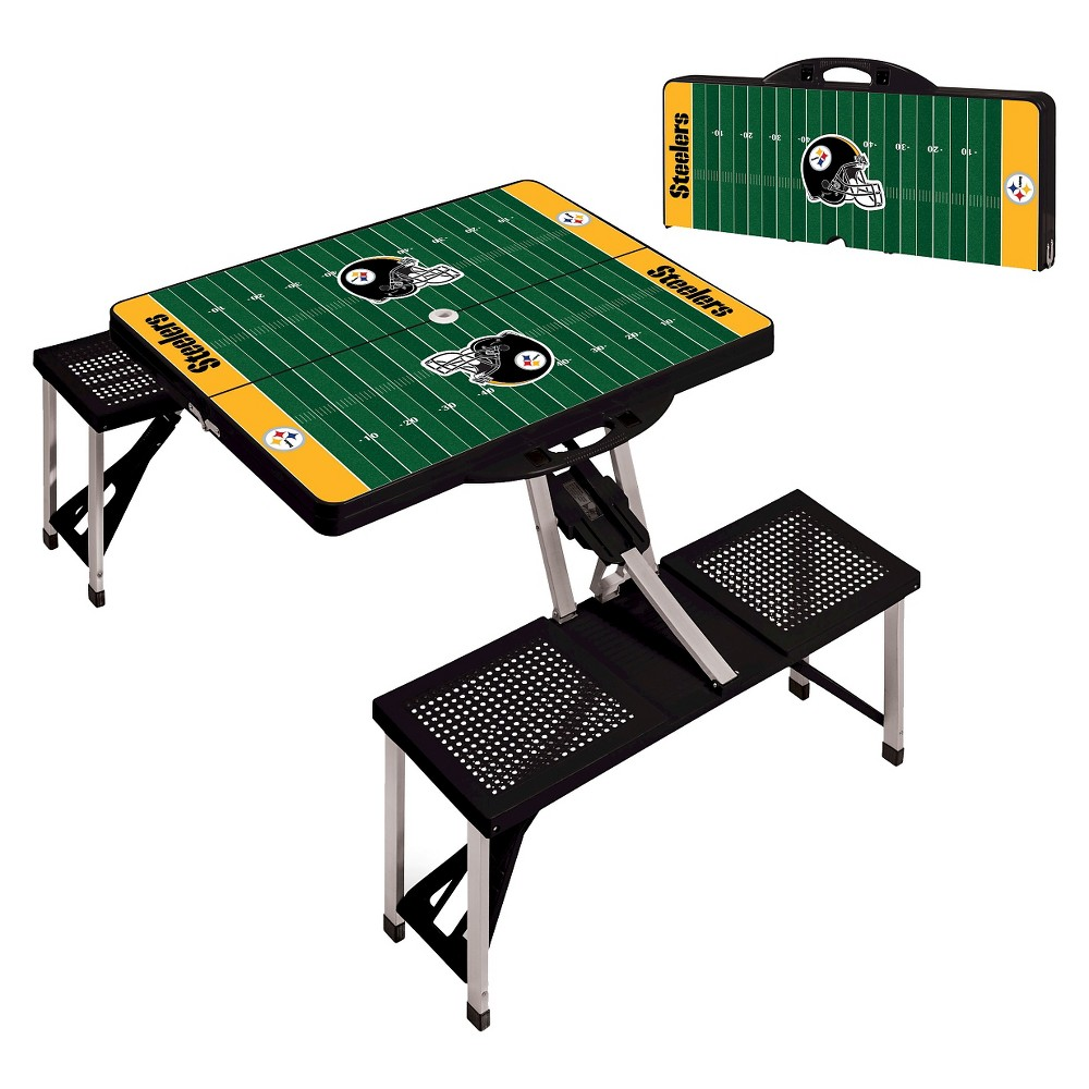 Pittsburgh Steelers Portable Picnic Table with Sports Field Design by Picnic Time - Black