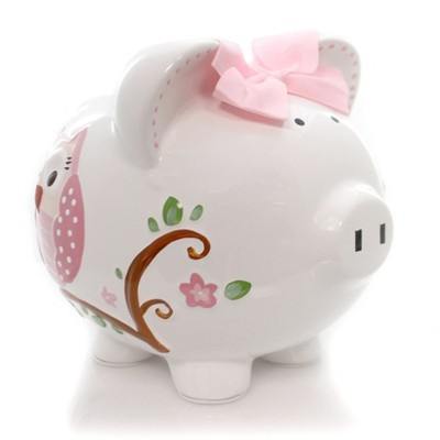 """Bank 7.75"""" Pink Dotted Owl Piggy Bank Money Saver Butterfly  -  Decorative Banks"""