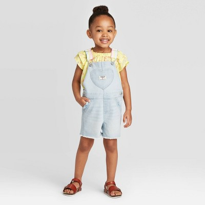 OshKosh B'gosh Toddler Girls' Heart Pocket Shortall - Light Blue 12M