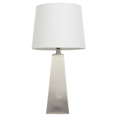 Brushed Nickel & White Tapered Table Lamp (Includes CFL Bulb)- Pillowfort™