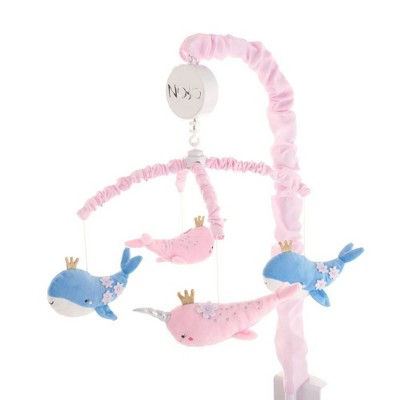NoJo Under The Sea Whimsy Whales and Narwhals Musical Mobile - Pink and Blue