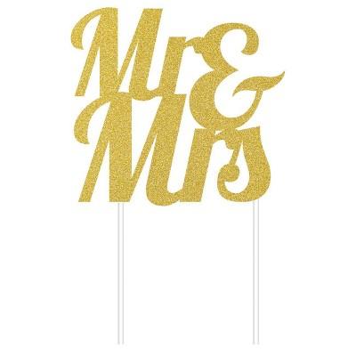Mr & Mrs Glitter Cake Topper Party Decoration