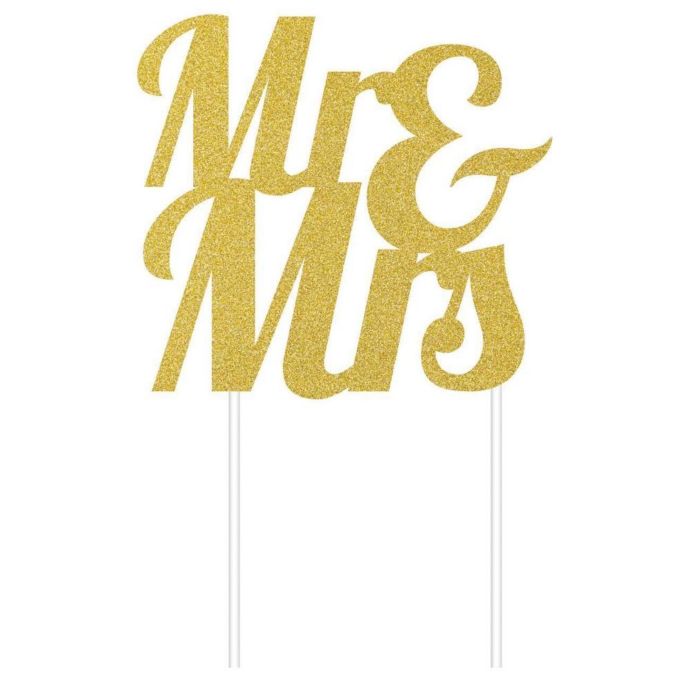 34 Mr 38 Mrs 34 Glitter Cake Topper Party Decoration Gold