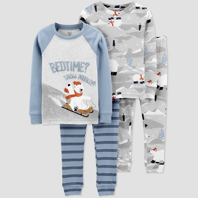 Baby Boys' 4pc Polarbear Pajama Set - Just One You® made by carter's 9M