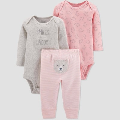 Baby Girls' 3pc Bear Top & Bottom Set - Just One You® made by carter's Newborn Pink