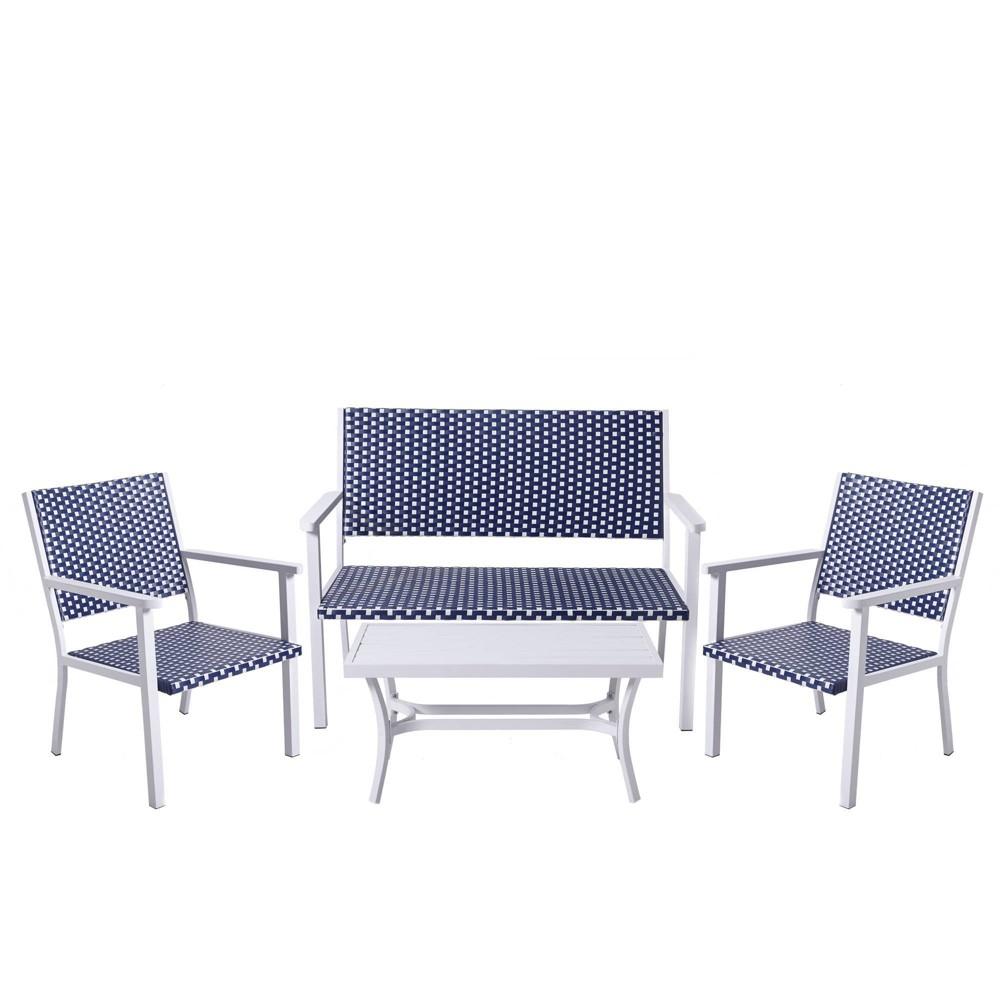 Image of Peaktop 4pc Wicker Patio Conversation Set - Coastal - Teamson