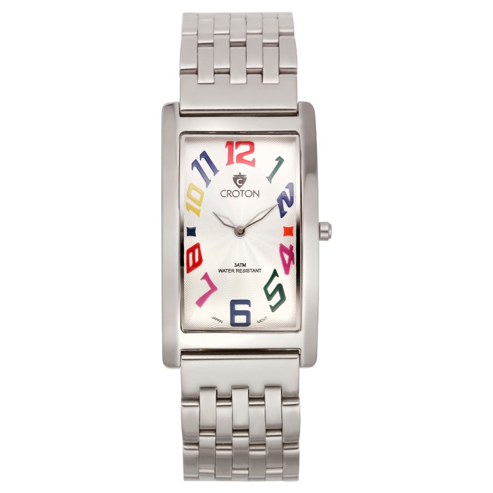 Men's Croton Analog Watch - Silvertone Bracelet watch, White/Silver