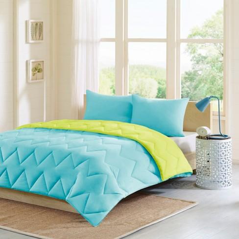 Teal/Gray Penny Reversible Down Alternative Comforter Mini Set - image 1 of 4