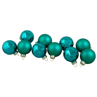 """Northlight 10ct Turquoise Green 2-Finish Glass Christmas Ball Ornaments 1.75"""" (44.5mm)"""