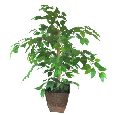 "38"" x 24"" Artificial Ficus Tree in Metal Container Green - LCG Florals"