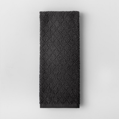 Solid Diamond Weave Kitchen Towel Dark Gray - Made By Design™