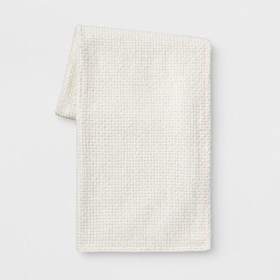 Basketweave Chenille Throw Blanket Cream - Threshold™