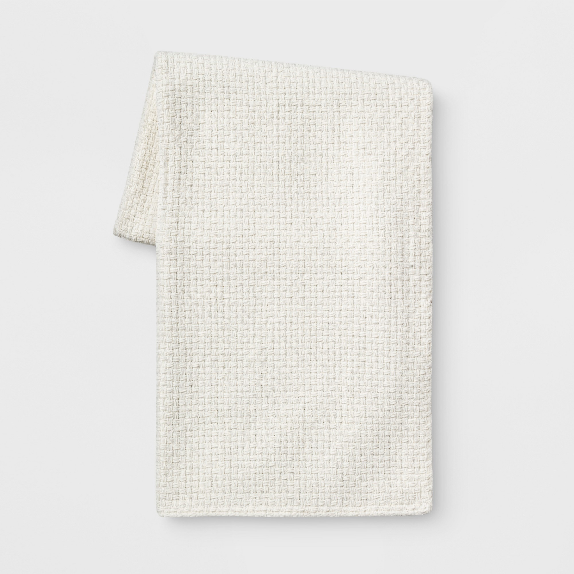 Basketweave Chenille Throw Blanket Cream (Ivory) - Threshold