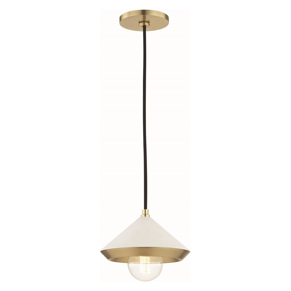 1pc Marnie Small Light Pendant White/Brass - Mitzi by Hudson Valley