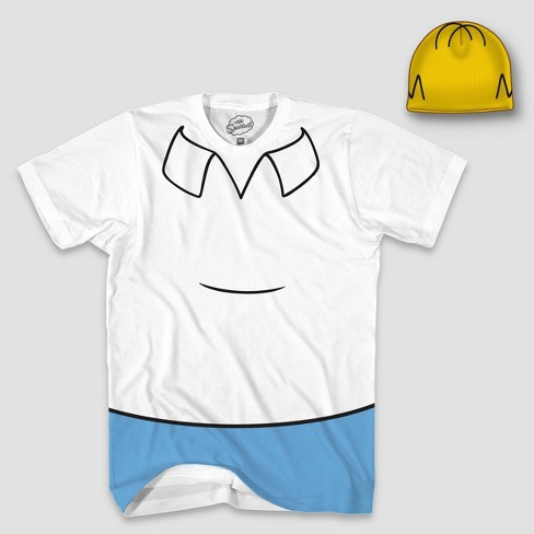 Men's Homer Simpson Halloween T-Shirt and Hat Set - White - image 1 of 1