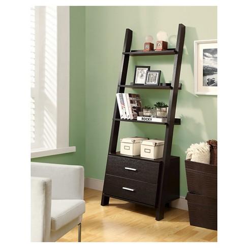 A Frame Ladder Shelf Shelves With Drawers Furniture Wooden Black Case