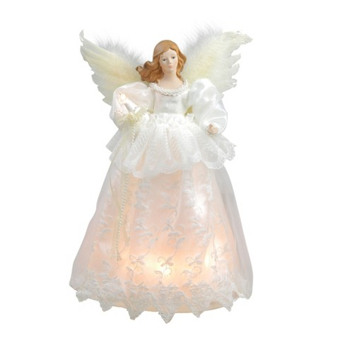 Angel Christmas Tree Topper.Kurt S Adler 14 Lighted Ivory And White Angel Christmas Tree Topper Clear Lights