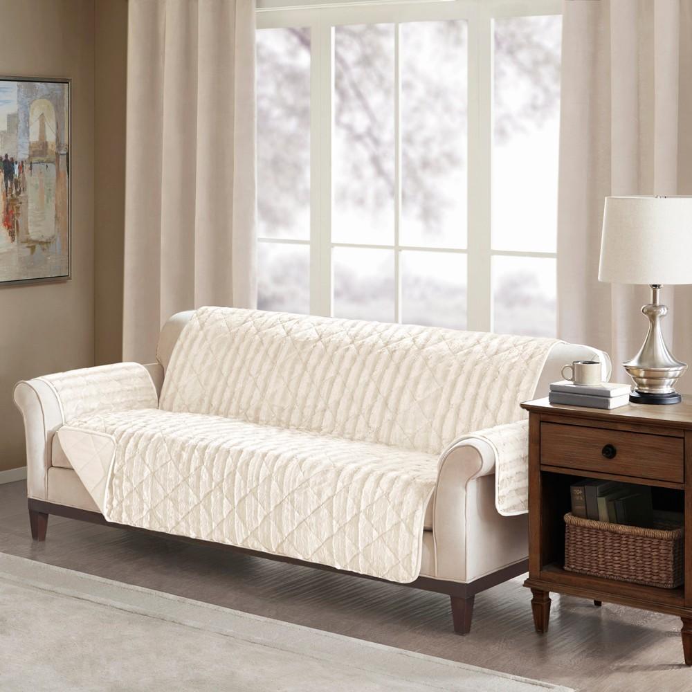 York Faux Fur Sofa Protector Beige
