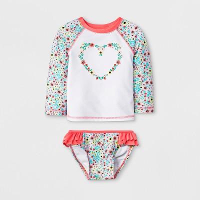 Baby Girls' Long Sleeve Raglan Rash Guard Set - Cat & Jack™ White 9M