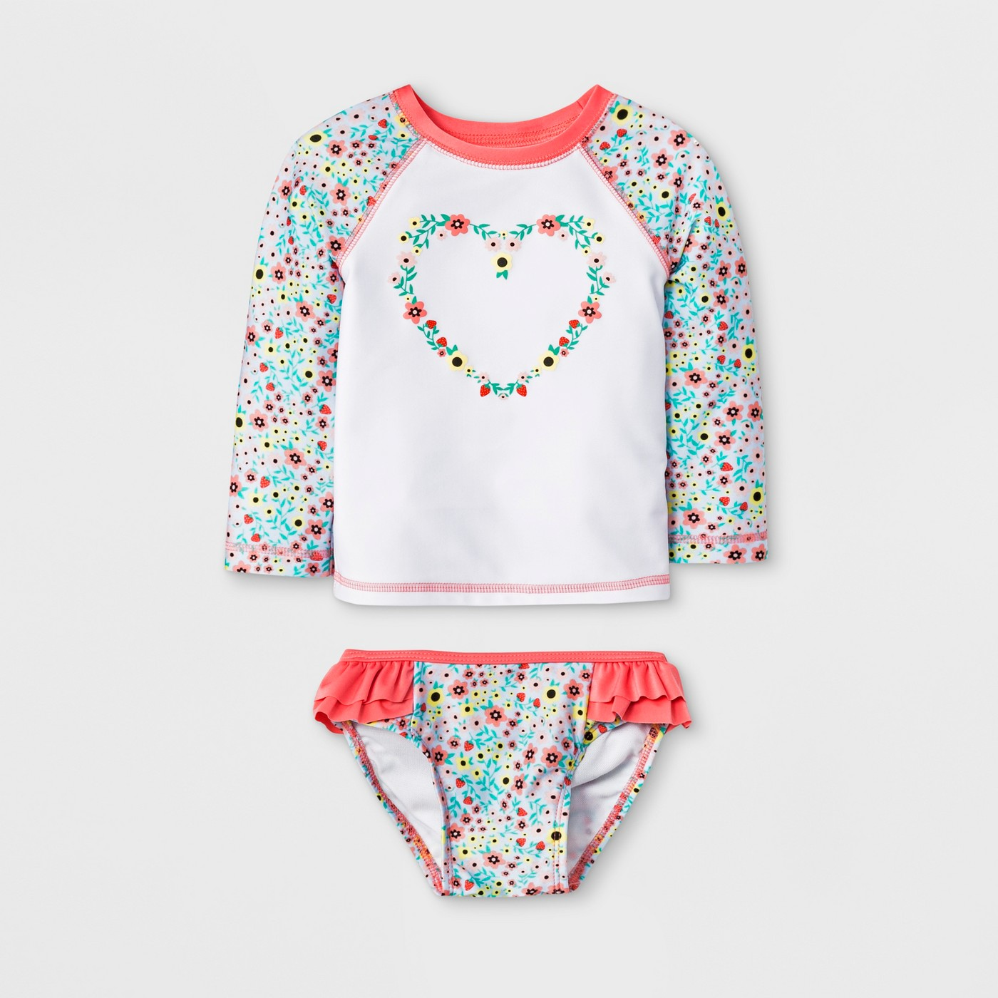 Baby Girls' Long Sleeve Raglan Rash Guard Set - Cat & Jack™ White - image 1 of 2