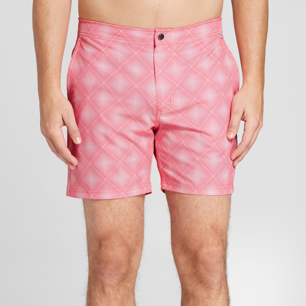 Ibiza Ocean Club Men's 6 Recreational Swim Trunk - Diamond Print 34, Pink