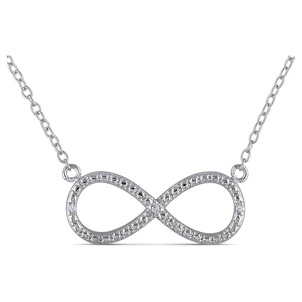Image of .015 CT. T.W. Diamond Infinity Necklace in Sterling Silver, White