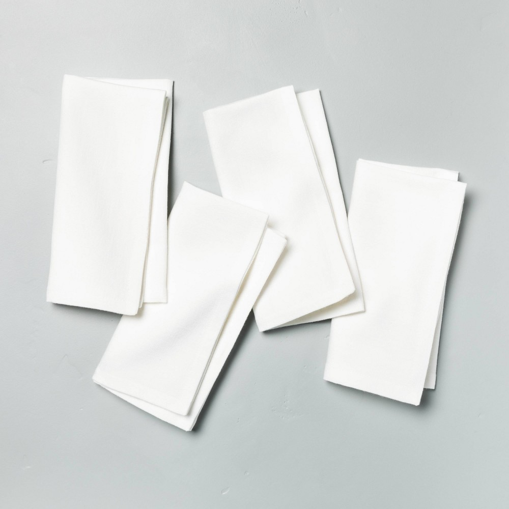 4pk Solid Cotton Napkin Set Sour Cream Hearth 38 Hand