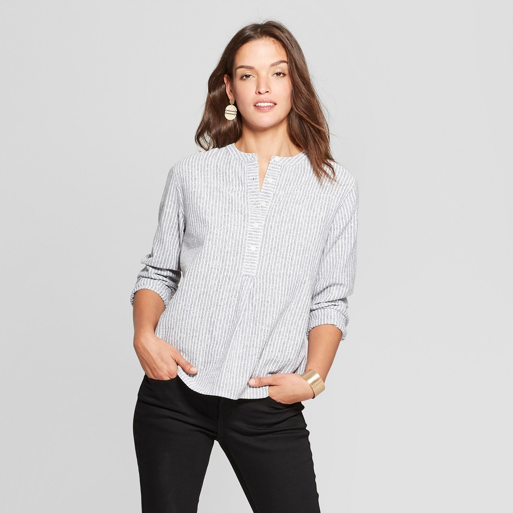 Women's Striped Long Sleeve Half Button-Down Shirt - Universal Thread Blue XS