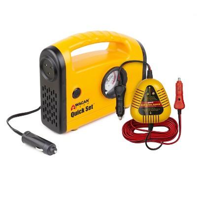 Wagan 12V Quick Set Inflator Compressor and Jumper Yellow