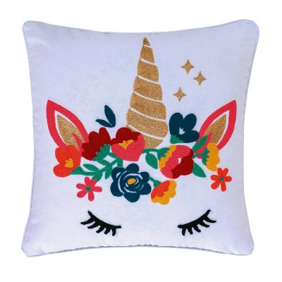 Monique Embroidered Unicorn Pillow - Homthreads
