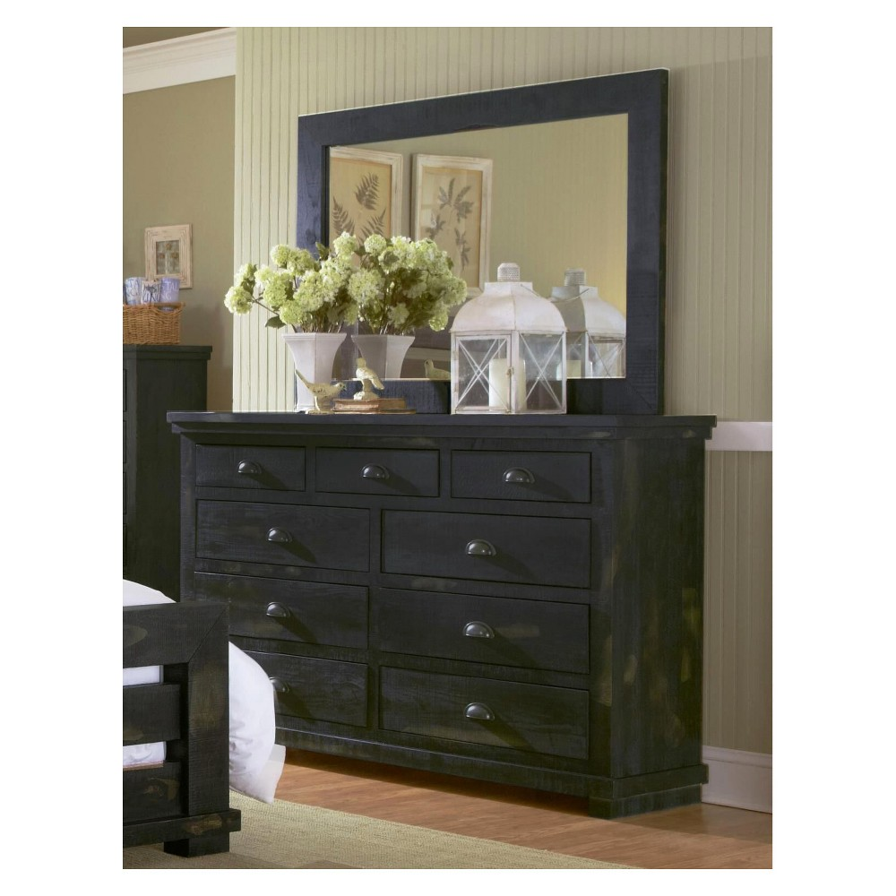 Willow Drawer Dresser and Mirror Distressed Black - Progressive