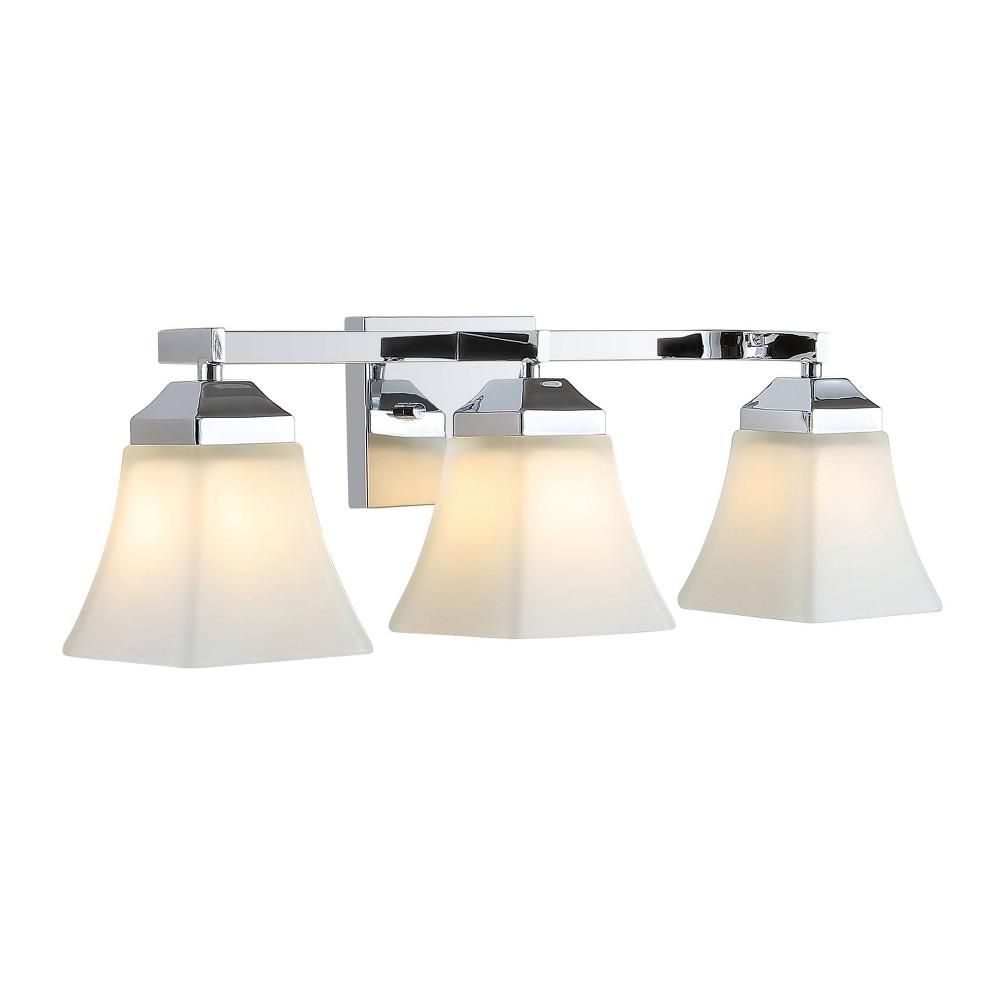 24 34 3 Light Led Iron Glass Staunton Modern Cottage Wall Light Chrome Jonathan Y