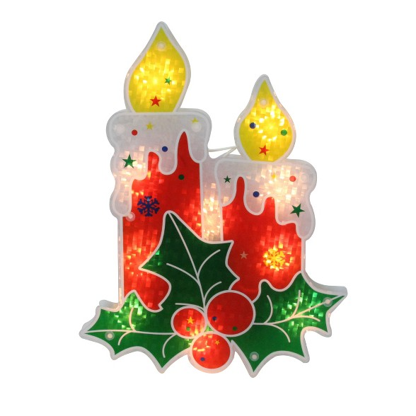 Christmas Holly Silhouette.Northlight 12 Lighted Holographic Holly And Berry Candle Christmas Window Silhouette Decoration