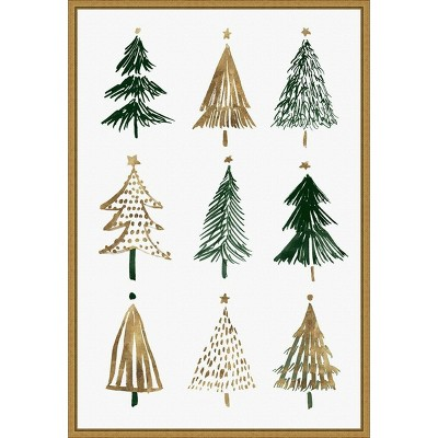 """16"""" x 23"""" Evergreens II Tree by Isabelle Z Framed Canvas Wall Art - Amanti Art"""