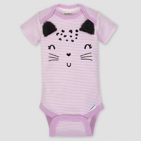 e4f2d94e8 Gerber Baby Girls' 5pk Short Sleeve Onesies Bodysuit Cat - Purple/Gray :  Target