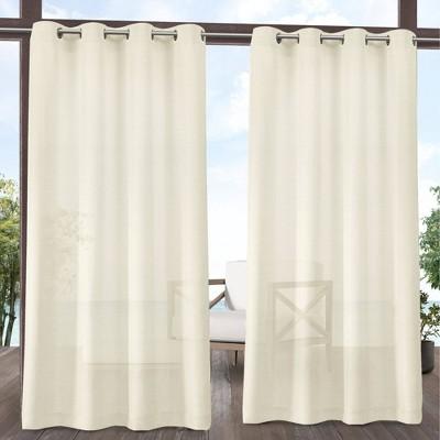 Set of 2 Miami Indoor/Outdoor Textured Sheer Grommet Top Window Curtain Panel - Exclusive Home
