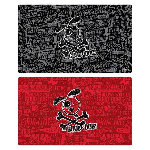 Drymate® Multi-Use Good Dog Cross Bones Pet Mat Set - Black and Red (2 ct) - image 1 of 2