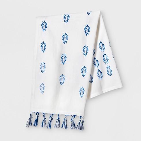 White Towel with Blue Fringe Tassels Kitchen Towel - Opalhouse™