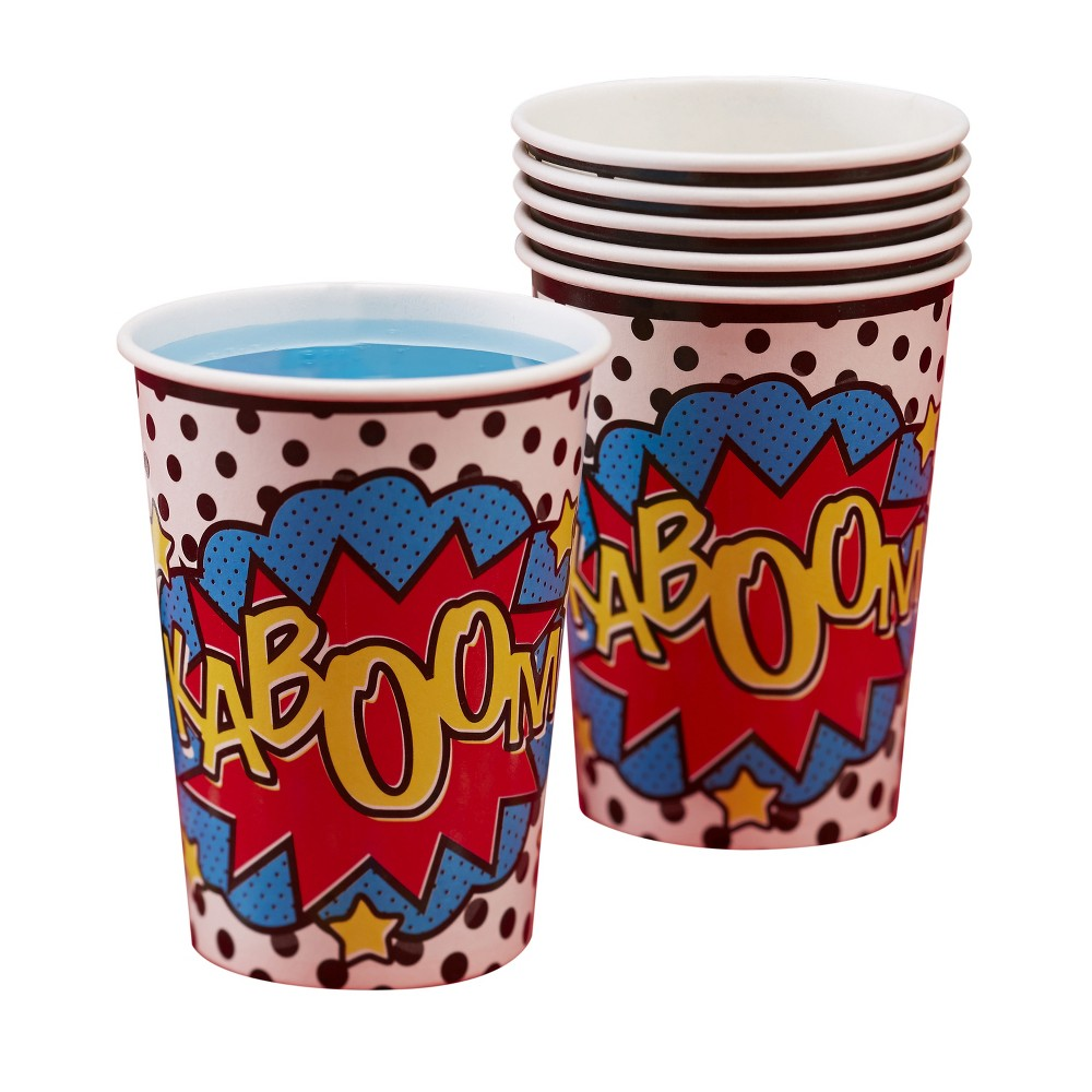 8ct Ginger Ray Paper Cups Comic Superhero, Multi-Colored