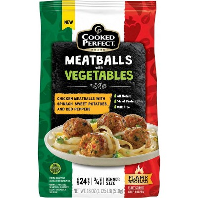 Cooked Perfect Chicken Meatballs with Vegetables - Frozen - 18oz